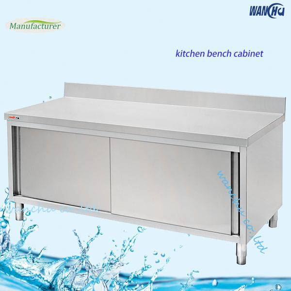 storage cabient/stainless steel bench cabient with sliding door and splashback