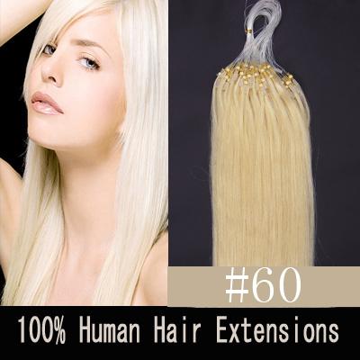 "100S 24"" BLEACH BLONDE(#60) 0.7G/1.4G MICRO LOOP REMY HUMAN HAIR EXTENSIONS"