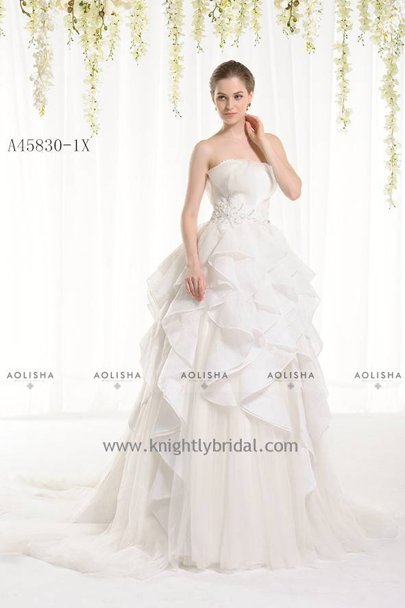 Organza Strapless Beaded Waist Ruffles Skirt WEDDING DRESS