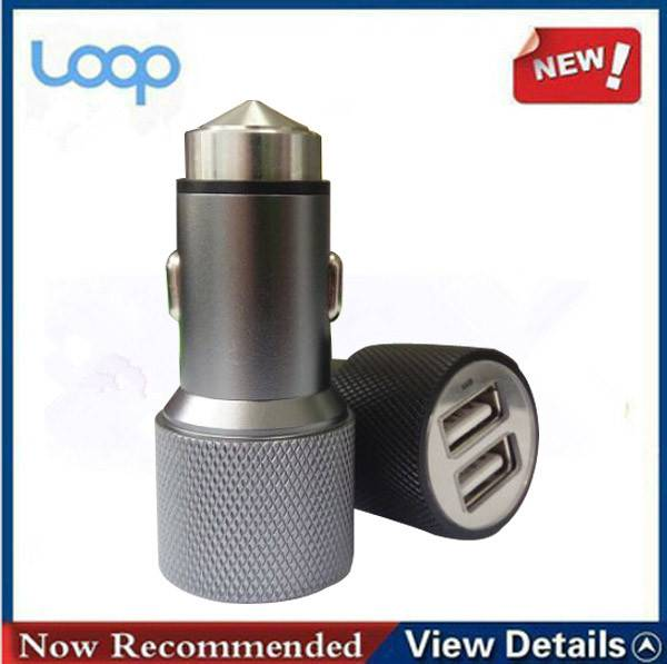 Dual USB car charger with aluminum alloy body part,for smartphone/Android/iPhone/power bank