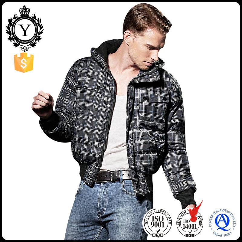 2016 Coutudi New Custom Men's Size Quilted Embroidered Plain Plaid Puffy Padded Fur Hood Down Coat