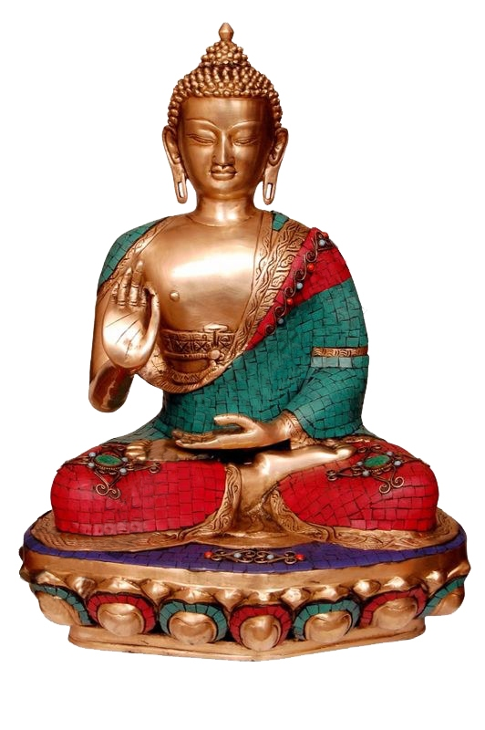 Brass statue of Lord Buddha with turquoise coral stone work - rare indian handmade craft by Aakrati