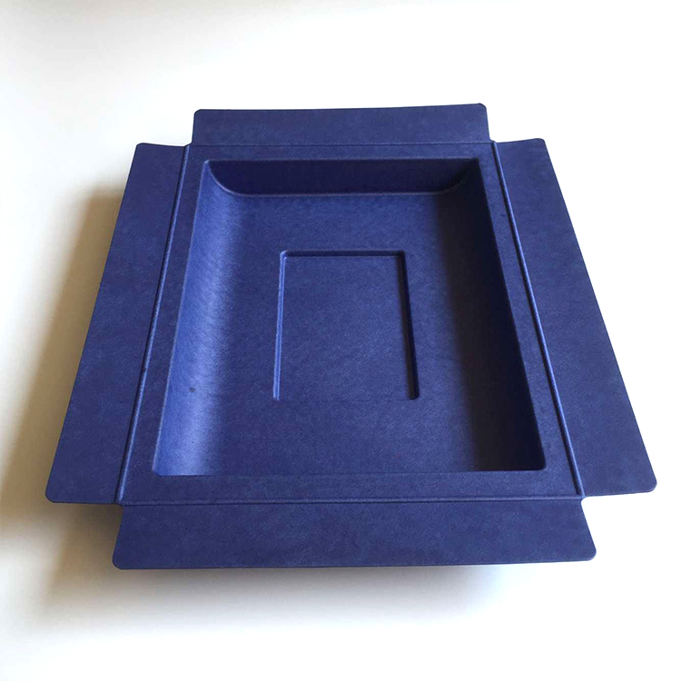 Dark blue new custom bagasse electronics tray molded pulp