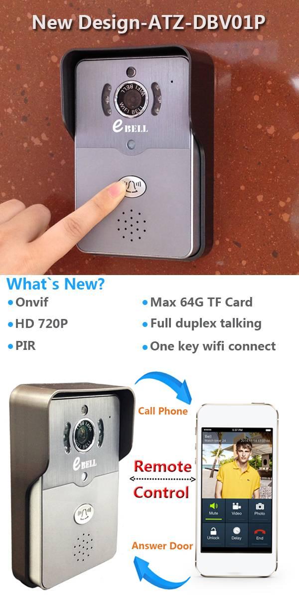 ATZ Smart 720p wireless wifi video door entry phone IP65 IP wifi video door bell phone with camera