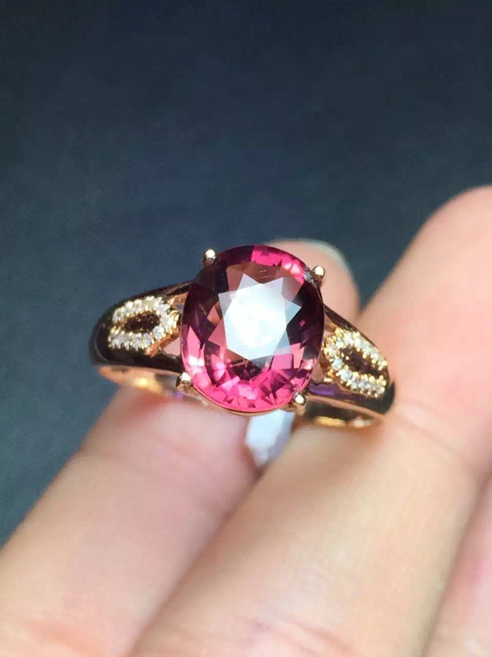 New Arrival Natural Tourmaline Ring in 18k gold inlaid with diamonds