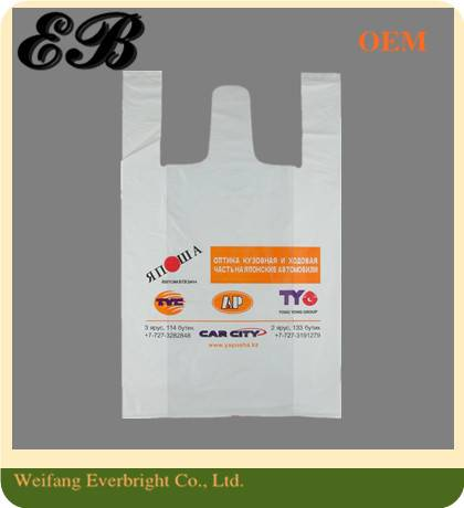 Biodegradable Packaging HDPE Cheap Shopping Customer Printed Plastic T-shirt Bag