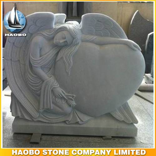 Hand Carved Granite Angel with Sculpted Roses