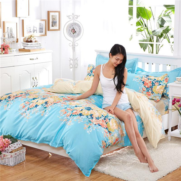 4pcs Home useful latest design queen size microfiber 75gsm indian print duvet cover beautiful bed sh