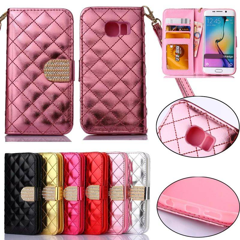 Bling Diamond Buckle PU Leather Wallet Case Cover for Galaxy S6 Edge S5 S4 Mini Note4 S6Edge SGS6C50
