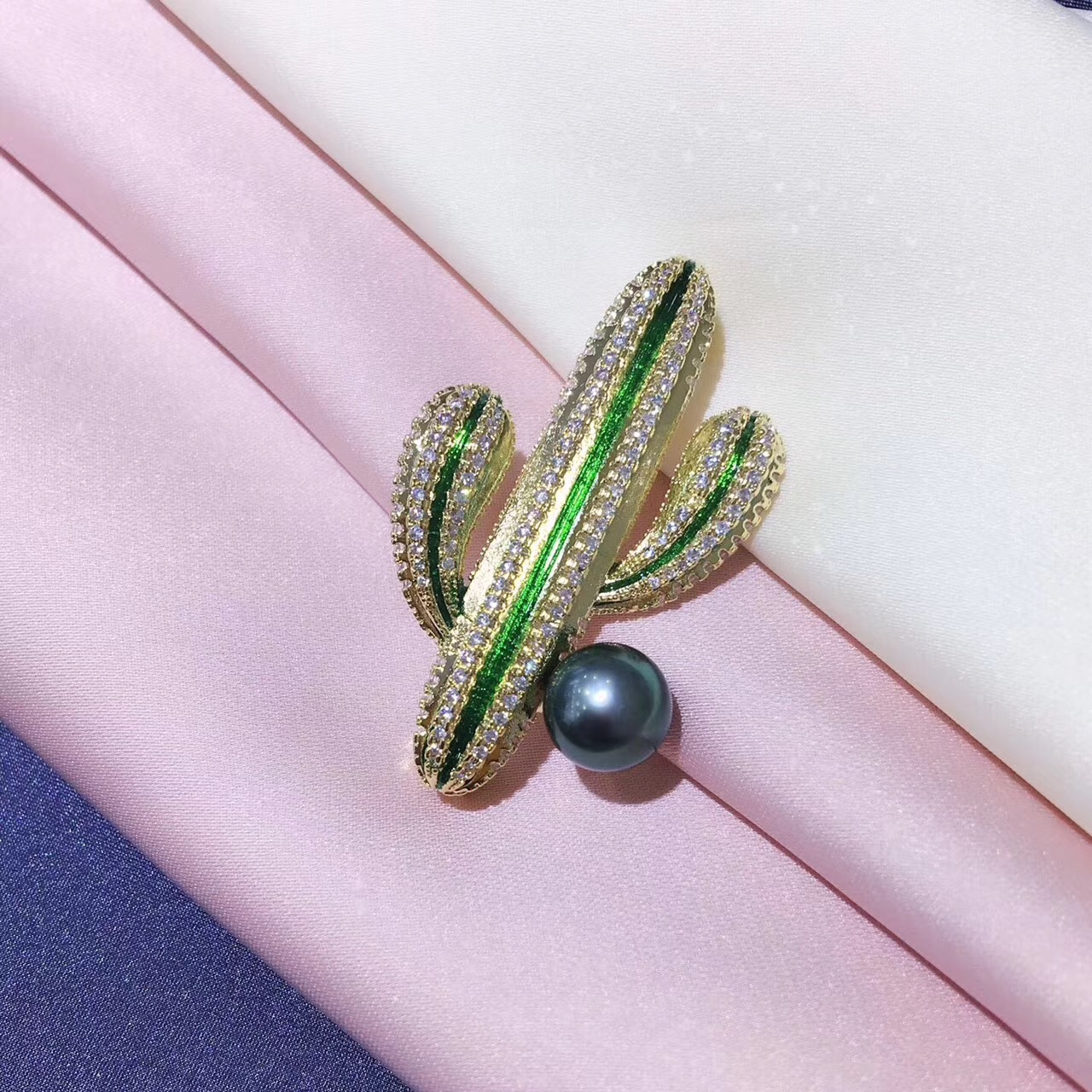 18K Gold Luxury Genunie South Sea Black Pearl Flora Brooch Pin