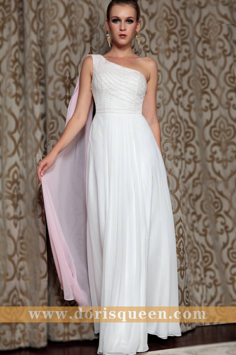 DORISQUEEN manufacturer supplying one shoulder white formal evning gowns, bridesmaid dresses with si