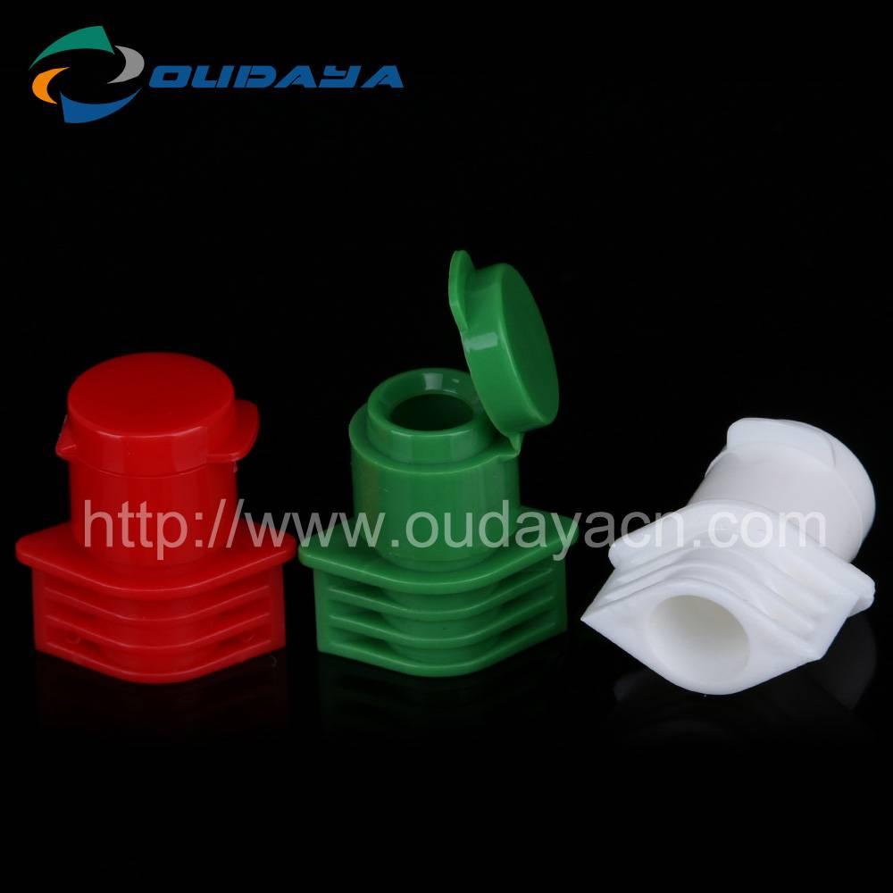 Flip type plastic cap and spout for beverage bottle