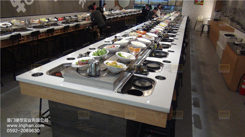 Rotary Restaurant Hotpot & Grilled Meat Conveyor Belt with Smoke Exhaust System