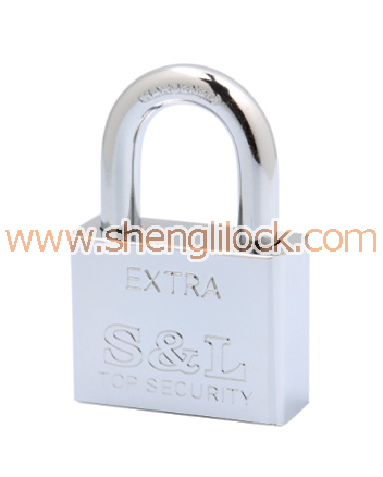 SQUARE SHAPE CHROME PLATED VANE IRON PADLOCK
