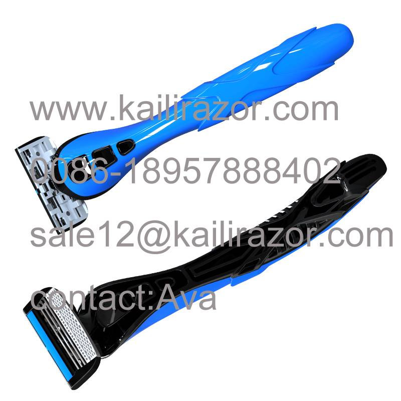 KL-X469L four blade rubber handle disposable shaving razor