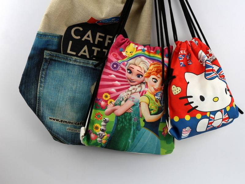 Eco Friendly Sublimated 12oz Canvas Drawstring Bags