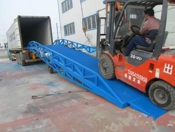 Hydraulic truck unloading used trailer skate ramp