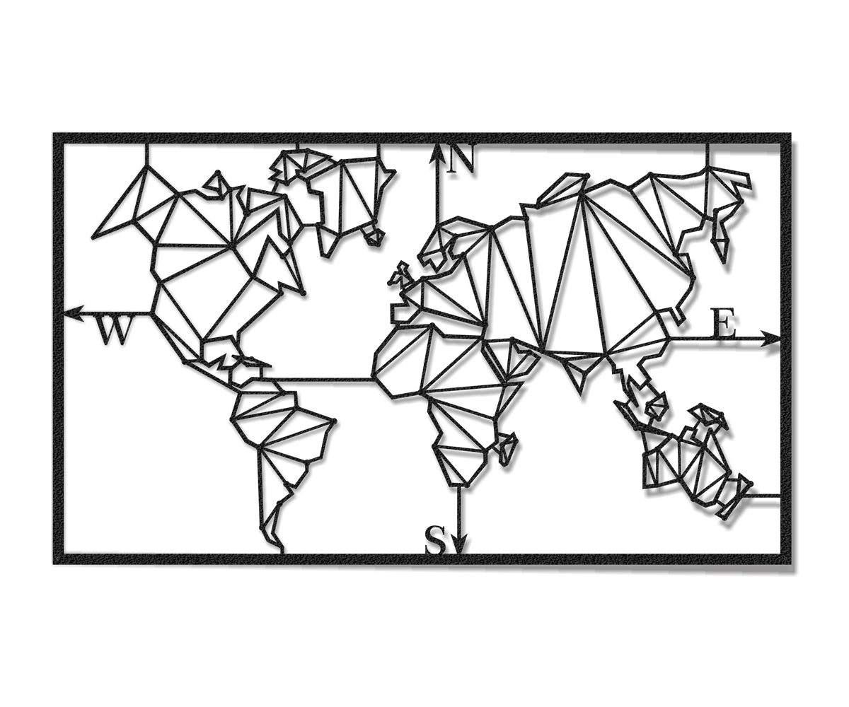 World map metal sculpture for wall decoration