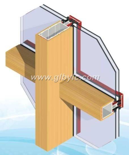 aluminum wood curtain wal