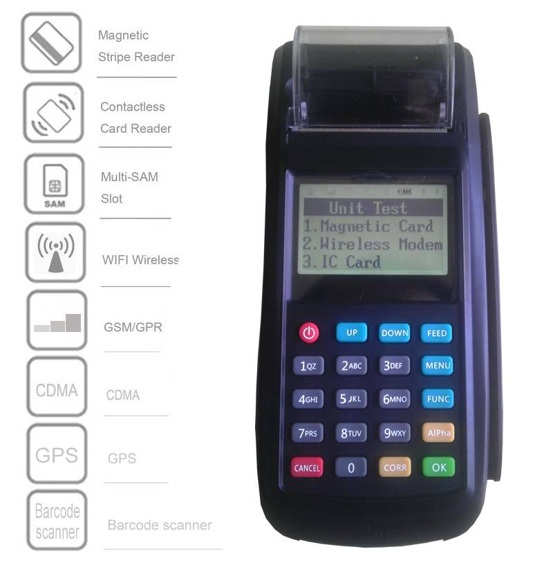 Wireless EFT-POS Terminal With high speed Thermal Printer, GPRS and WiFi,supports Contactless,Magnet