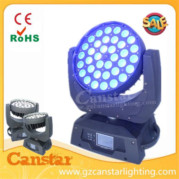 RGBWA+UV 6 in 1 36x18w led zoom moving head light