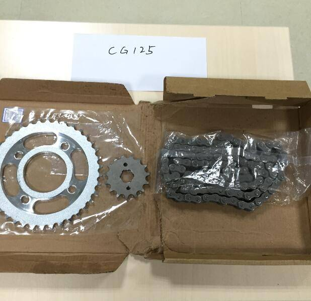 GENIUS MOTORCYCLE SPARE PARTS CG125 MOTORCYCLE SPROKET AND CHAIN SET FOR 125cc !HIGH QUALITY