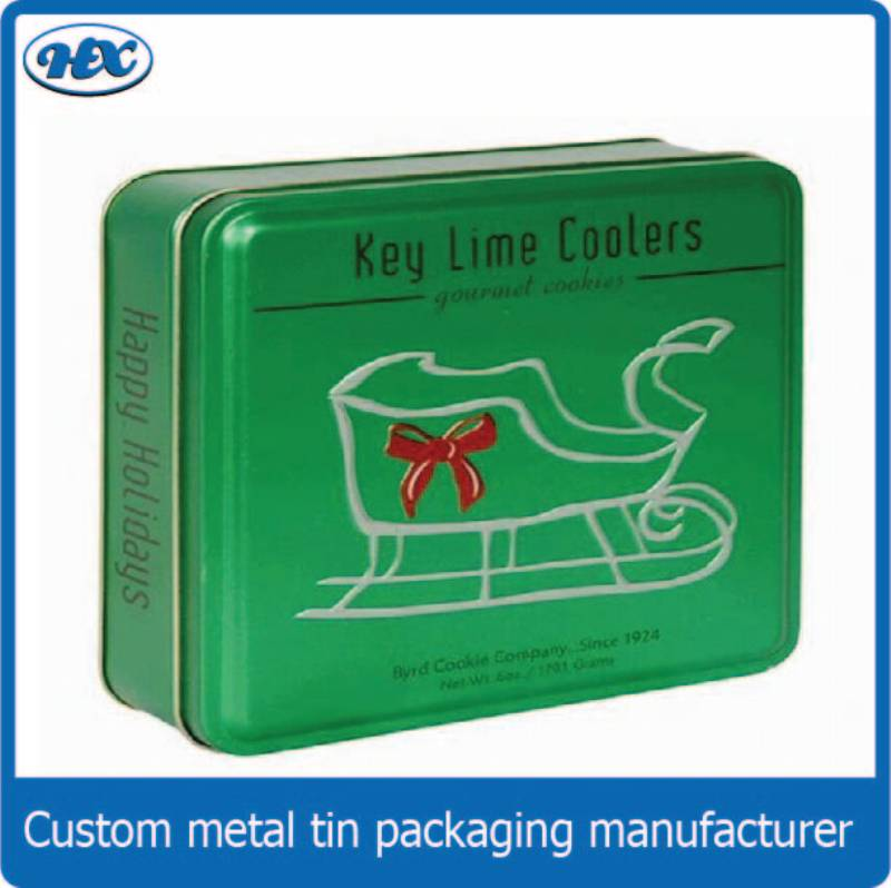 Green tin gift box for Christmas day