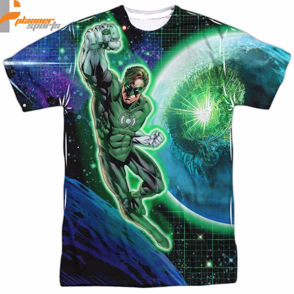 Green Lantern In Space PlannerSports  Sublimation Licensed Adult Shirt S-3XL