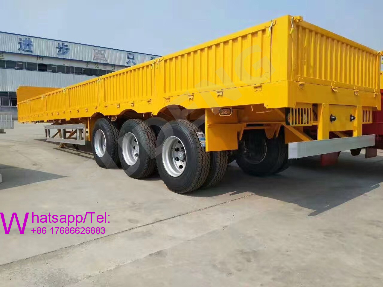 40ft sidewalls container semi trailer 3 axles bulk cargo semi trailer with railings