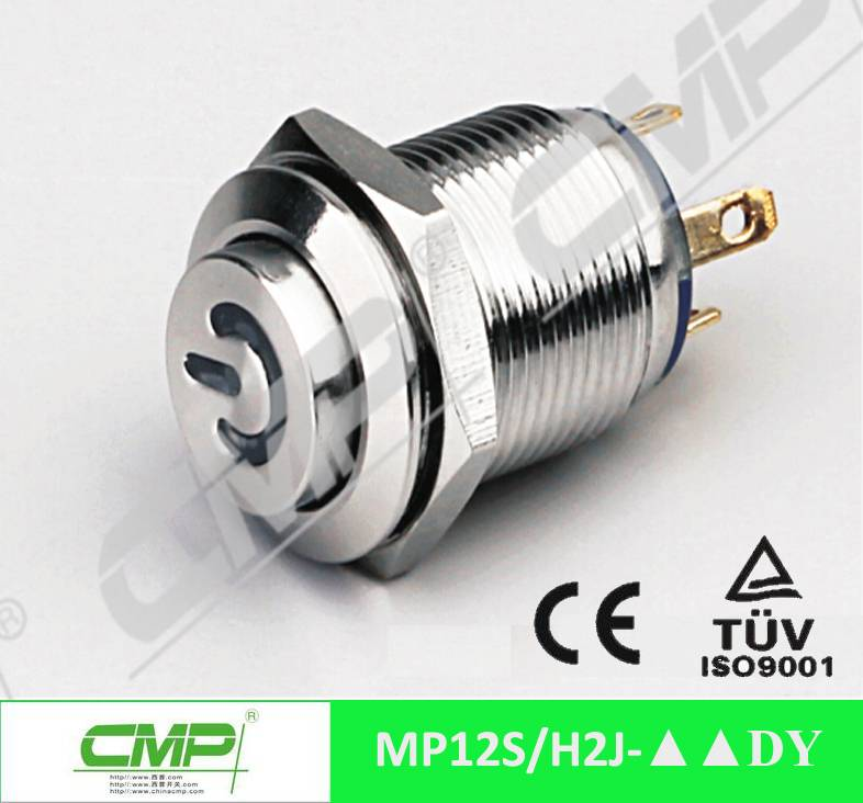 Diameter 12mm metal pin terminal waterproof power symbol LED push button switch TUV CE