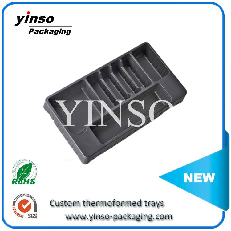 anti-static thermoformed plastic packaging tray,ESD plastic tray