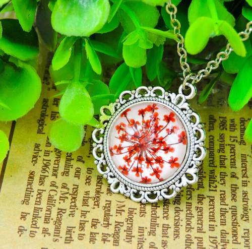 Glass locket red dry flower sweater chain pendant necklace