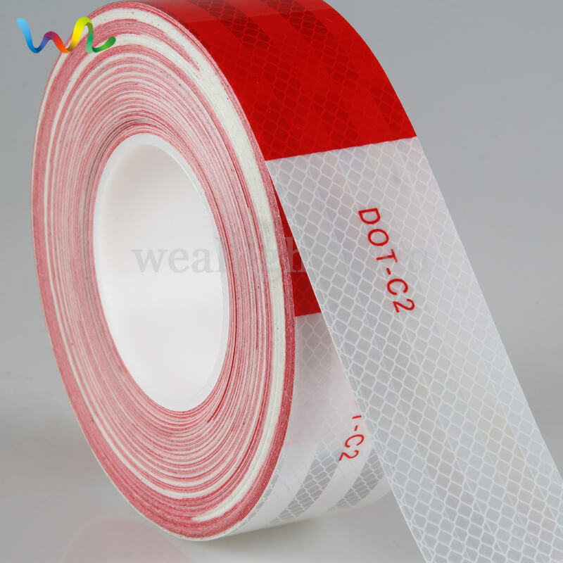 Reflective Tape, Reflective Material, red and white reflective tape, Dot C2 Reflective Tape