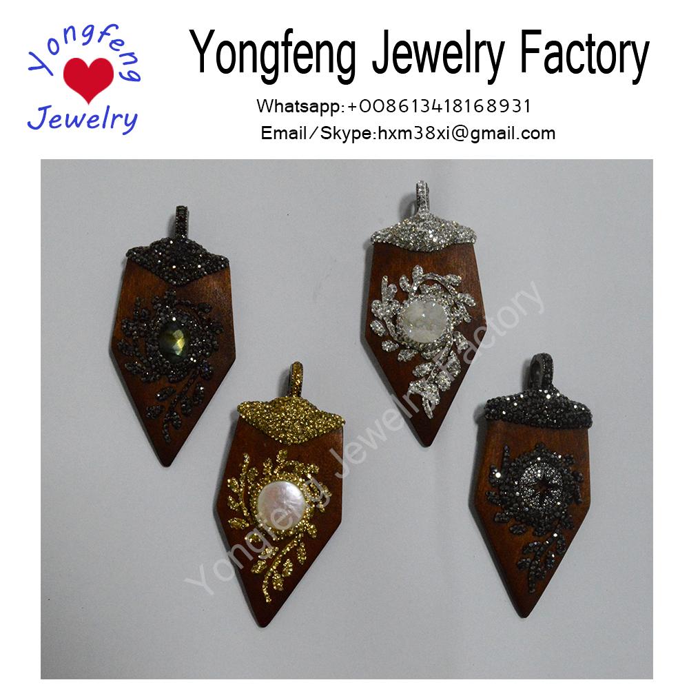 Bohemian Jewelry freshwater pearl arrow pendant,druzy wooden pendant,cubic zirconia wood pendant
