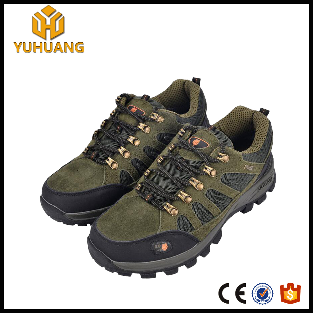 breathable cow suede leather lace up hiking shoes waterproof