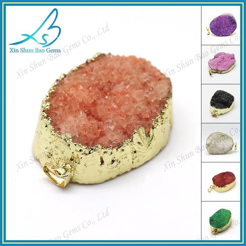 Free form colored natural druzy pendant wholesale