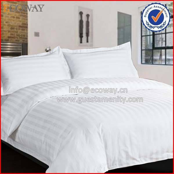 wholesale hotel White strip 100% cotton chinese duvet cover
