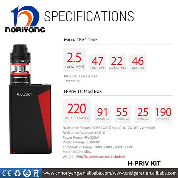 2016 SMOK 100% Original H-Priv 220W TC Mod Fit for Micro TFV4 Tank High Quality H-Priv Kit