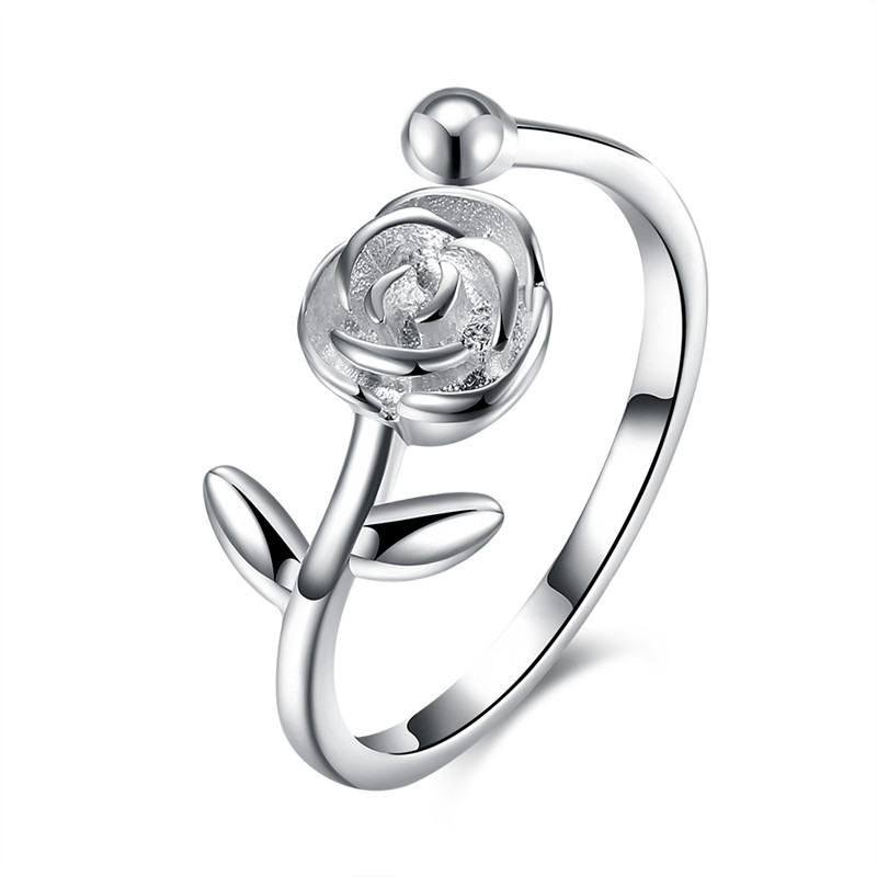 Flower Shape Sweet Lady Fashion Jewelry Sterling Silver Ring