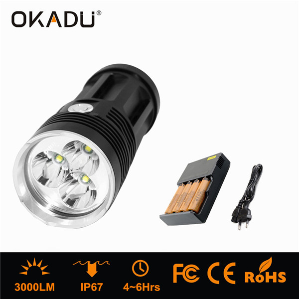 OKADU ST03K 3000Lm LED Flashlight Aluminum Alloy 3 CREE T6 LED Flashlight Super Bright Powerful LED