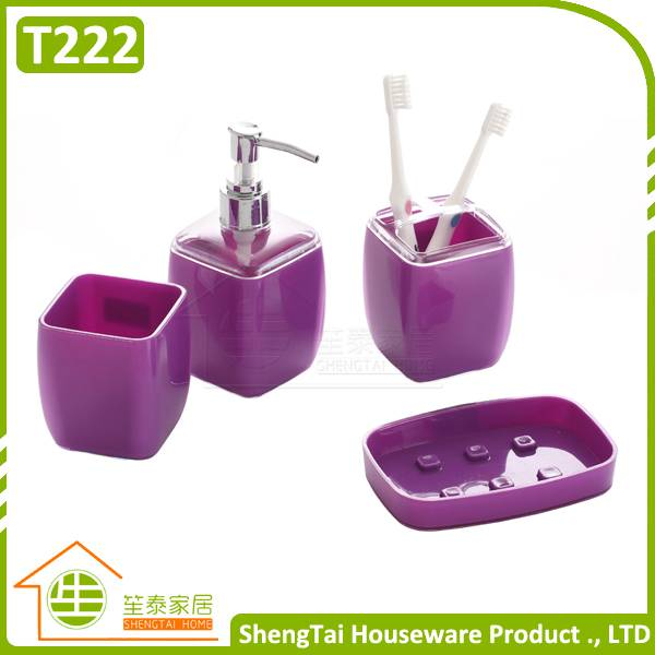 Hot Selling Promotional Plastic Bathroom Sets With Square Shape Design