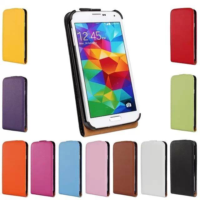 Second Genuine Leather Case Vertical Flip Cover Shell For Galaxy S6 S5 S4 Note4 iPhone 6 5S I9600C07