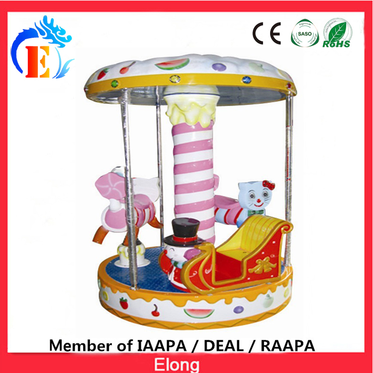 Elong 3 seats kids carousel mini merry go round indoor Cake carousel ride