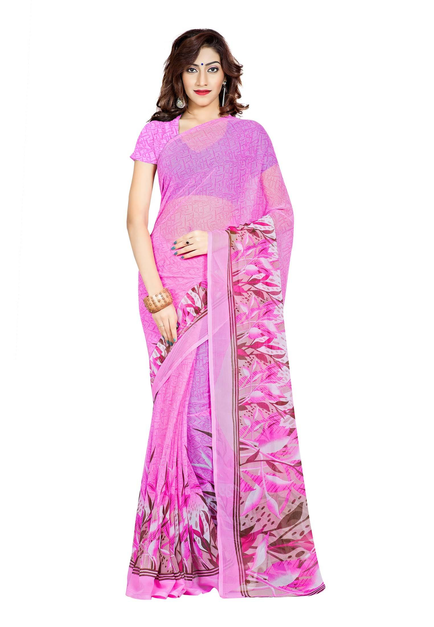 Ambaji Casual Wear Magenta Colored Printed Chiffon Saree/Sari