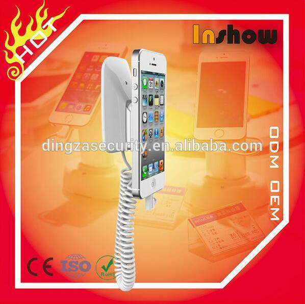 High Quality Wall Mount Anti-theft Cell Phone Holder with Alarm Charge
