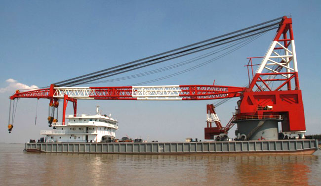 100ton floating crane barge