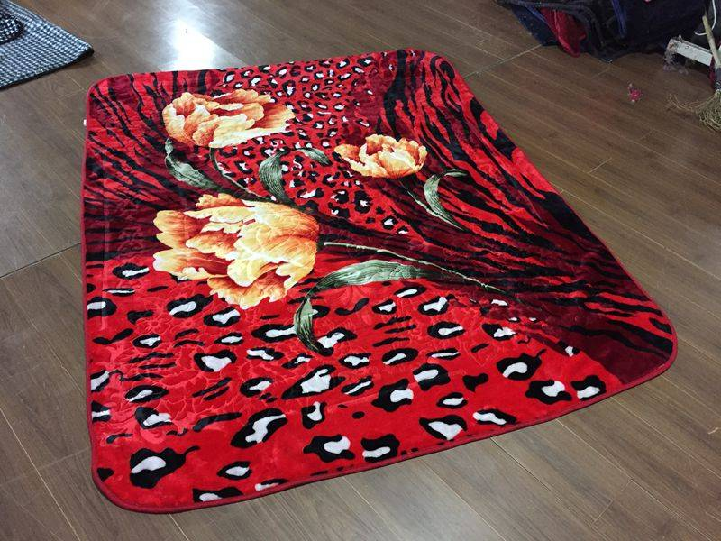 2015 3D flower design raschel blanket
