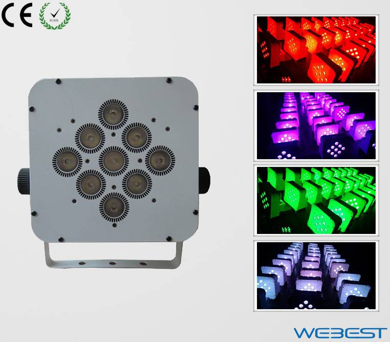 9 Lens RGB TRI Color 3in1 Wireless DMX  Rechargeable LED Flat Par