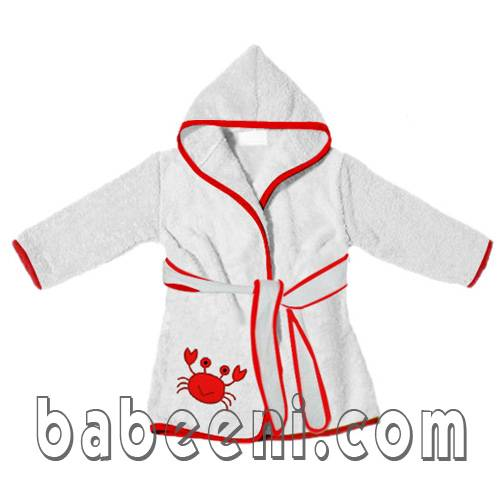 Crab applique bath robe
