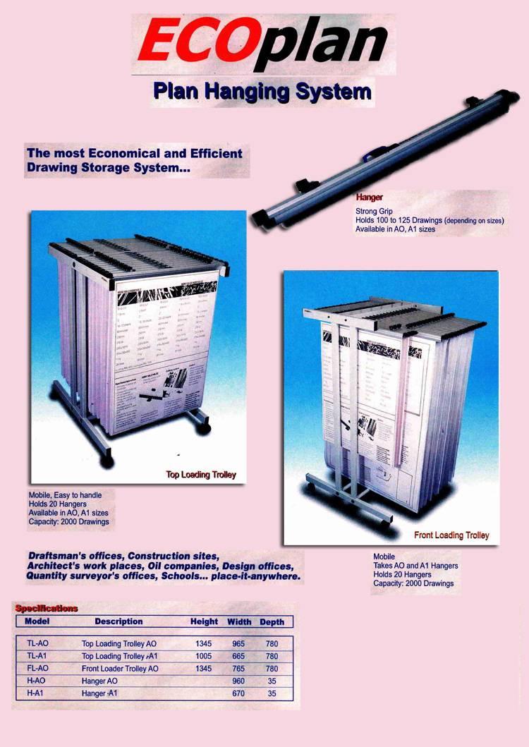 Plan hanger trolley / Plan Hanging System ,Top Loading Trolley,Front loading trolley , Drawing Hange
